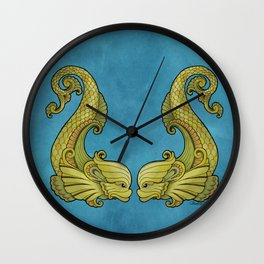 Dive Deep - Gold Dolphins Wall Clock