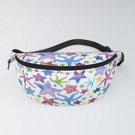 Rainbow Watercolor Starfish Pattern - White Fanny Pack