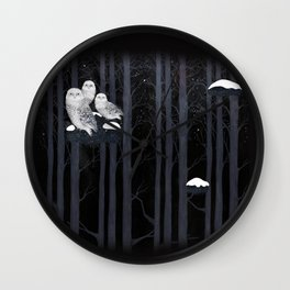 Snow Owls Wall Clock
