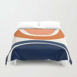Abstract Shapes 7 in Burnt Orange and Navy Blue Duvet Cover