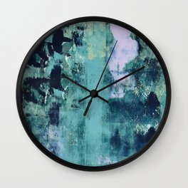 012: a bright contemporary abstract piece in teal and lavender by Alyssa Hamilton Art  Wall Clock