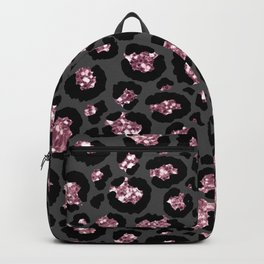Black & Rose Gold Leopard Print Glitter Backpack