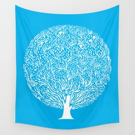 Blue Tree Wall Tapestry