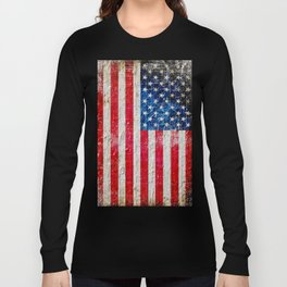 Distressed American Flag On Old Brick Wall - Horizontal Long Sleeve T-shirt