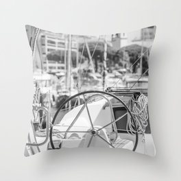 Nautical Travel Photography | Harbor Yacht Boat Ocean Seascape Sea Water France Europe Wanderlust Throw Pillow