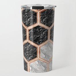 Geometric marble honeycomb - black & white Travel Mug