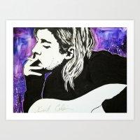 kurt cobain Art Prints featuring Kurt Cobain by Lucy Ford