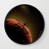 planet Wall Clocks featuring Planet by Svetlana Sewell