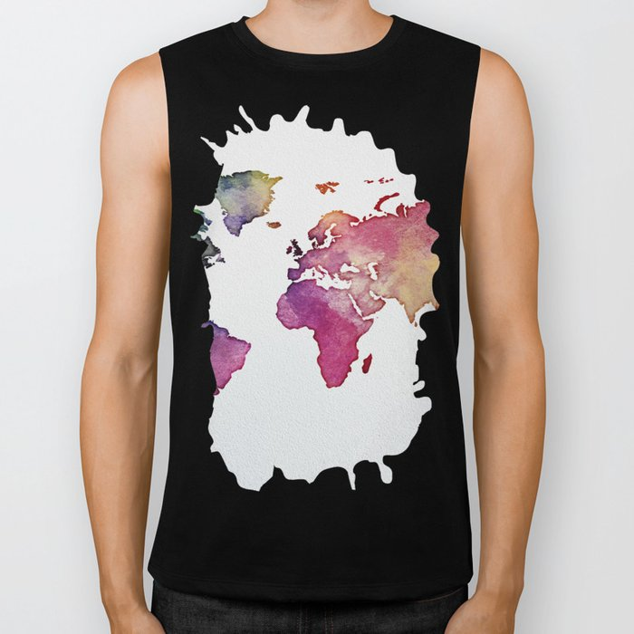 Multicolor World Map 01 Biker Tank