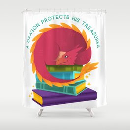 A Dragon Protects His Treasures (books) Shower Curtain