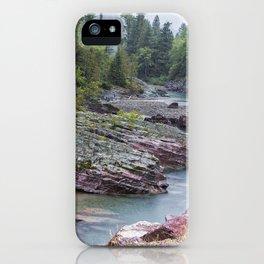 Rain on McDonald Creek in Glacier NP iPhone Case