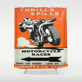 Vintage poster - Motorcycle Races Shower Curtain
