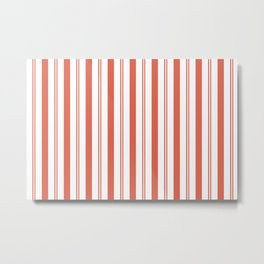 Pantone Living Coral Stripes Thick and Thin Vertical Lines (2) Metal Print