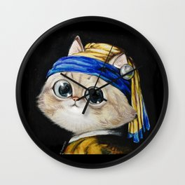 the cat girl with pearl earrings Wall Clock
