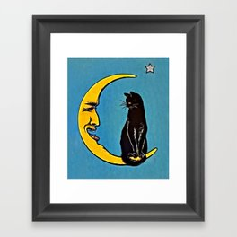 Black Cat & Moon Framed Art Print