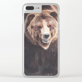 Brown Bear Clear iPhone Case