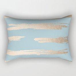 Abstract Paint Stripes Gold Tropical Ocean Sea Blue Rectangular Pillow