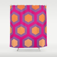 honeycomb Shower Curtains featuring Honeycomb by Andrew Jonathan Baker