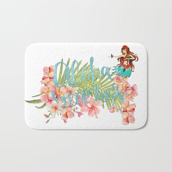 Aloha- Alohabeaches with tropical flowers Palm leaf and Hula Girl Bath Mat