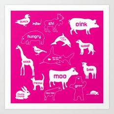 Animal Noises in Pink Art Print