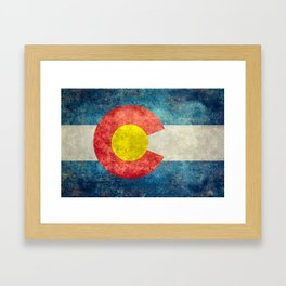 Coloradan flag in Retro Grunge Framed Art Print