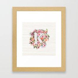 Initial Letter K Watercolor Flower Framed Art Print