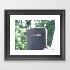 Holy Bible w/ bokeh Framed Art Print