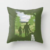 the last of us Throw Pillows featuring The Last Of Us by Pixel Design