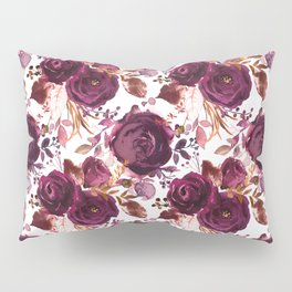 Burgundy pink white watercolor hand painted floral Pillow Sham