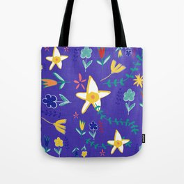 Floral The Tortoise and the Hare is one of Aesop Fables blue Tote Bag