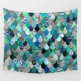 Mermaid Scales, Teal, Green, Aqua, Blue Wall Tapestry