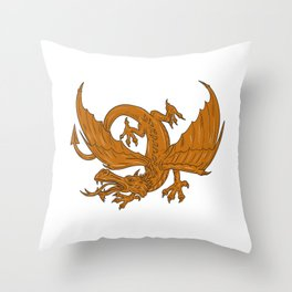 Agressive Dragon Crouching Drawing Throw Pillow