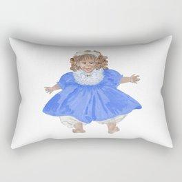 Doll in blue dress Rectangular Pillow