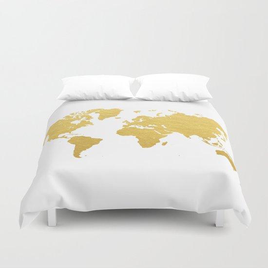 Gold World Map Duvet Cover By Bysamantha Samantha Ranlet