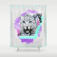 fierce Shower Curtains featuring Fierce Leopard by Kangarui by Rui Stalph