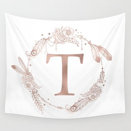 Letter T Rose Gold Pink Initial Monogram Wall Tapestry