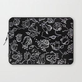 Original graphic art, flowers, white ink Laptop Sleeve