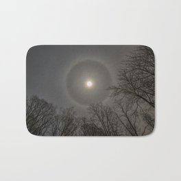 Moon Halo in the forest Bath Mat