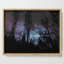 Black Trees Dark Space Serving Tray