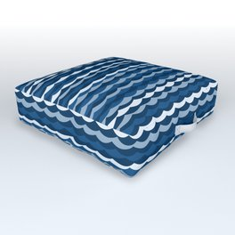 Classic Blue Wave Pattern Outdoor Floor Cushion