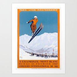 1927 Chamonix - Mont Blanc France Ski Championship Poster Art Print