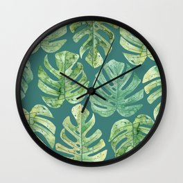 Jungle leaves Monstera leaves Palm leaves Tropical Wall Clock