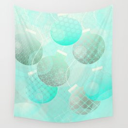 Silver and Mint Blue Christmas Ornaments Wall Tapestry