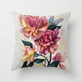 Fresh Tea Roses Throw Pillow