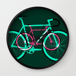 Fixed Gear Road Bikes – Green and Pink Wall Clock