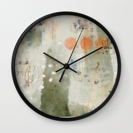 Olive Green Abstract with Orange Circles: Scribble Series 05 Wall Clock