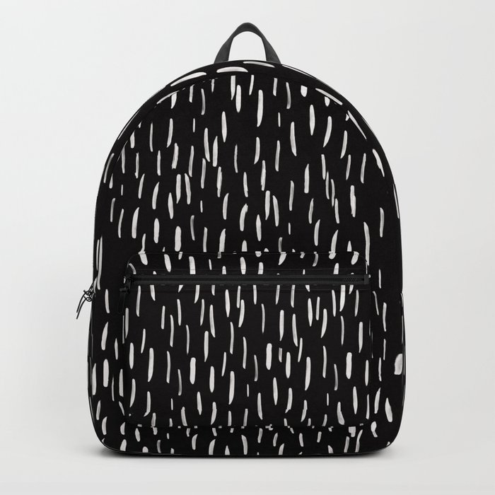 Abstract white Rain Lines Pattern on Black-Mix and Match with Simplicity of Life Backpack