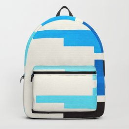 Cerulean Blue Minimalist Abstract Inca Pattern Midcentury Watercolor Geometric Painting Backpack