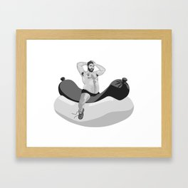 big chubby bear riding hotdog Framed Art Print
