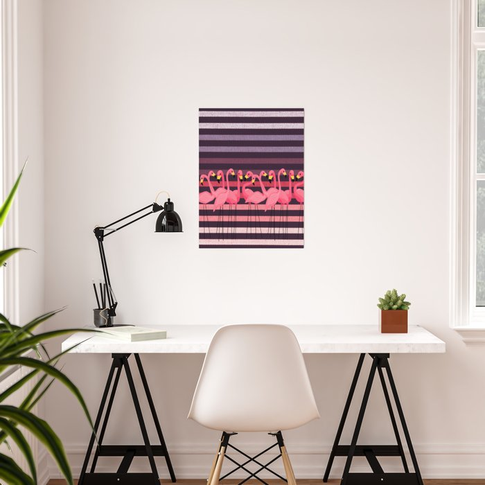 FUN STRIPES WITH FLAMINGOS Poster